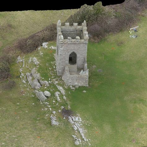 Oblique overhead view of Kirkhead Tower 1