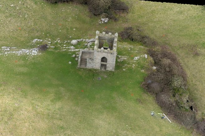Oblique overhead view of Kirkhead Tower