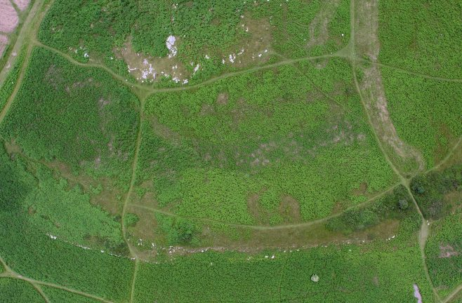 An aerial view of a Round Cairn (wide) on Birkrigg Common, near Urswick, Ulverston.