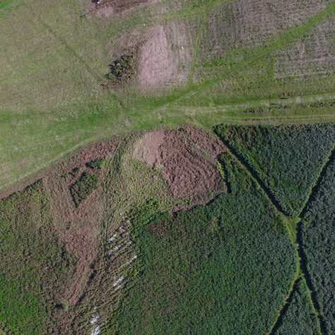 An aerial view of the enclosureon Birkrigg Common, near Urswick, Ulverston, after bracken clearing.