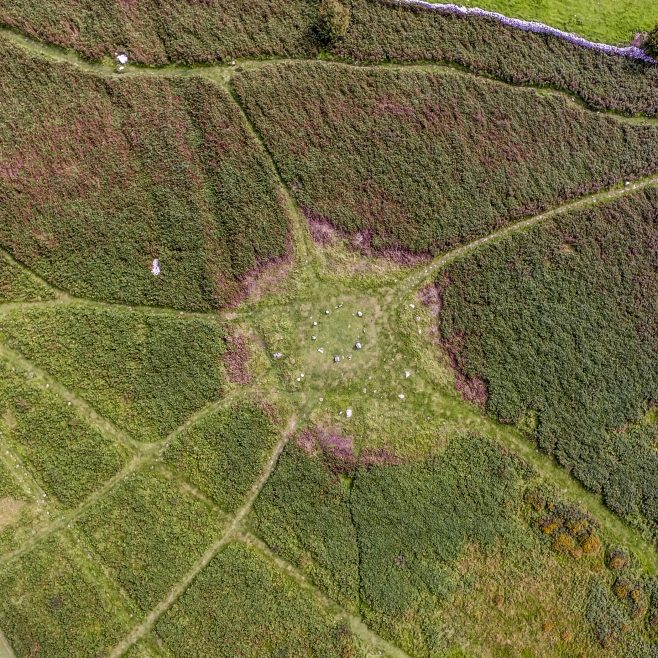 An aerial view of the enclosure on Birkrigg Common,  near Urswick, Ulverston, after bracken clearing.
