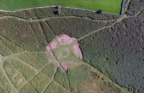 An aerial view of the stone circle on Birkrigg Common, near Urswick, Ulverston, after bracken clearing.