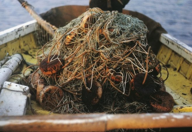 Haaf net piled up in the bottom of a fishing boat | Alan Smith