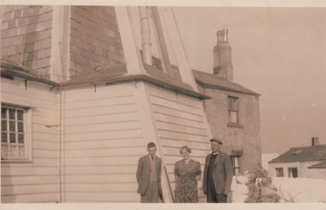 Cockersands Lighthouse with Lighthouse Keepers Thomas and Beatrice Parkinson and their son Bob