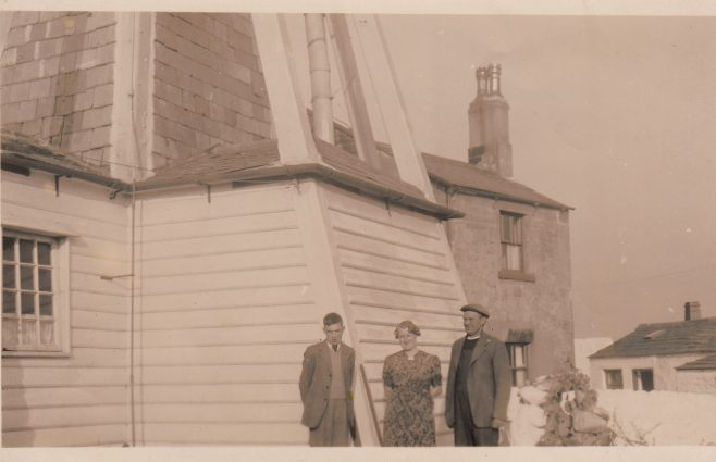 Cockersands Lighthouse with Lighthouse Keepers Thomas and Beatrice Parkinson and their son Bob | Bob Parkinson