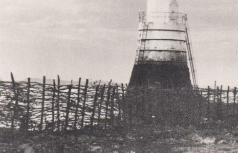 Plover Scar Lighthouse surrounded by a wattle fencing fish trap