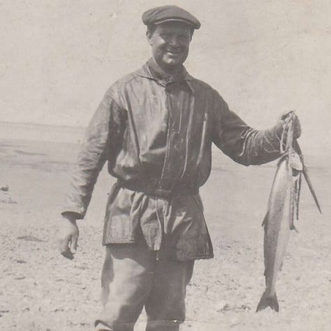 Cockersands Lighthouse Keeper Thomas Parkinson with a catch of salmon