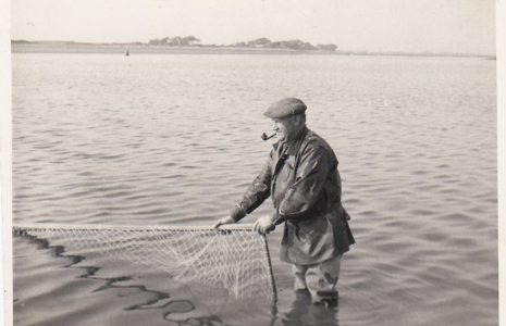 Cockersands Lighthouse Keeper Thomas Parkinson salmon fishing with a haaf net
