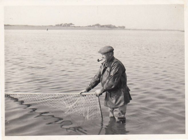 Cockersands Lighthouse Keeper Thomas Parkinson salmon fishing with a haaf net | Bob Parkinson