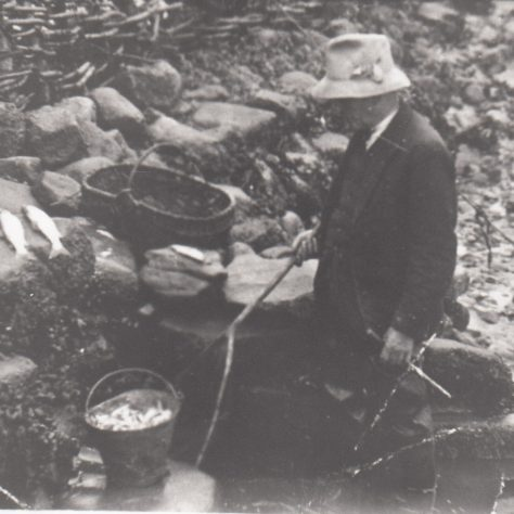Portrait of Dick Raby, Keeper of Plover Scar and Cockersand lighthouses, at Plover Scar fish trap