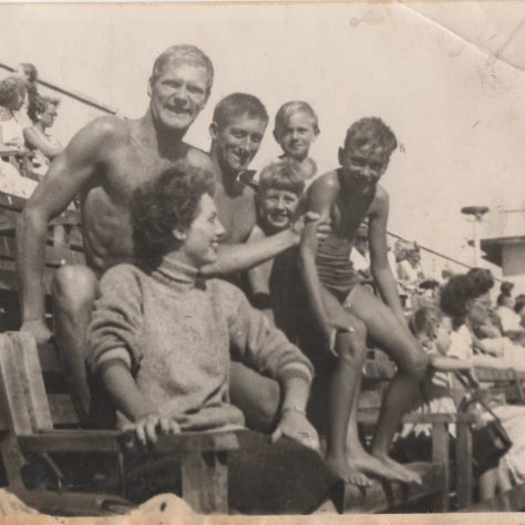 Photograph of Charlie Overett with a group of other swimmers at Morecambe Super Swimming Stadium