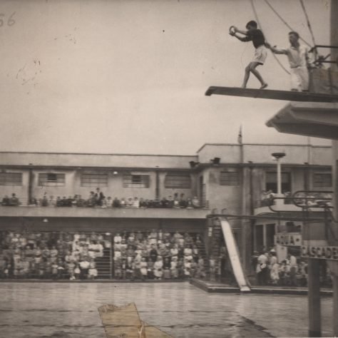 Photograph of Charlie Overett on the diving boards at Morecambe Super Swimming Stadium