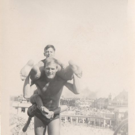 Photograph of Charlie Overett and a diver on the high diving board