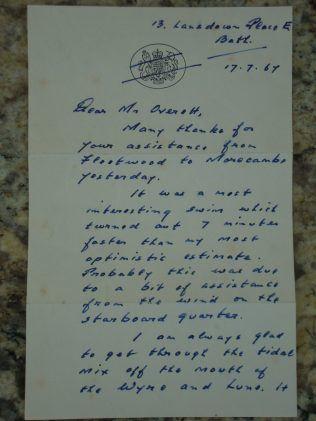 Letter to Charlie Overett from Gerald Forsberg page 1