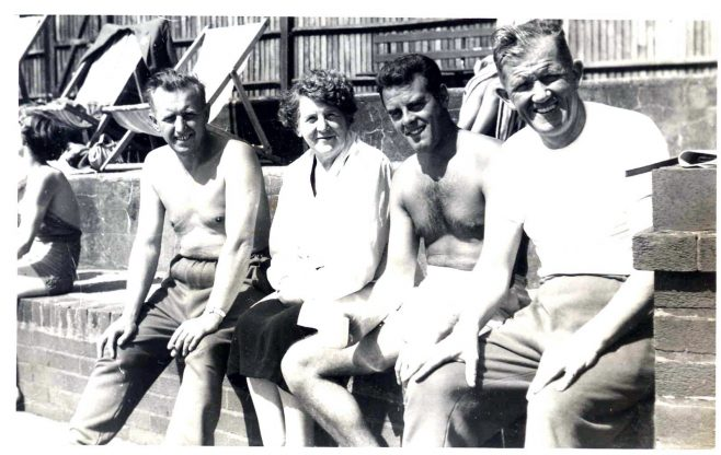 Photograph of Eric Atkinson at Grange Swimming Pool with other staff members