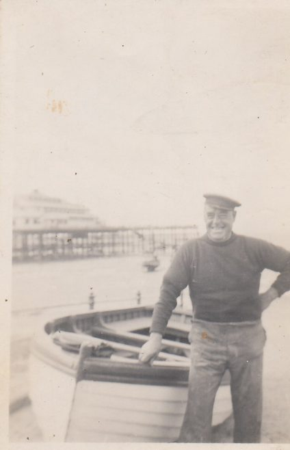 John Baxter with his fishing boat near Central Pier, Morecambe | Baxter Family