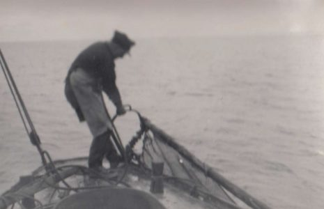 John Baxter aboard his fishing boat, LR 22, named Connie Baxter,hauling nets during a fishing trip in Morecambe Bay