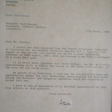 A RNLI letter to Mark Baxter to show appreciation for a rescue of a man off the Stone Jetty, Morecambe