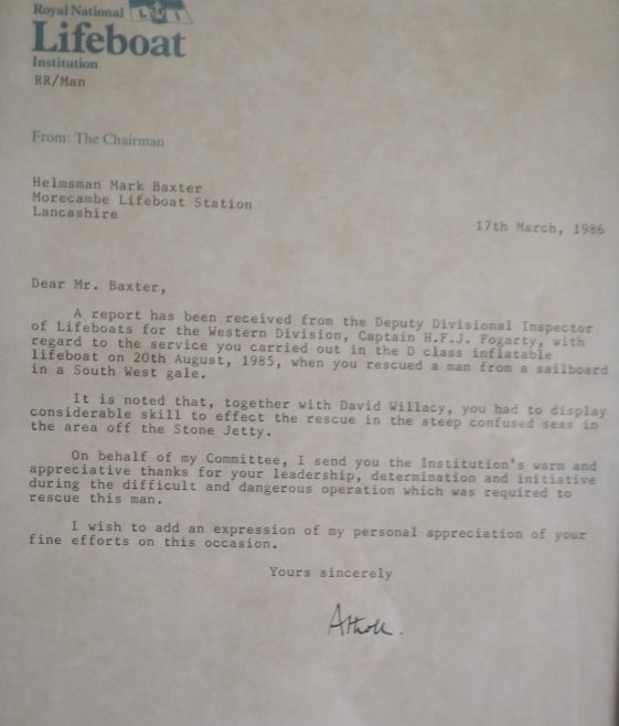 A RNLI letter to Mark Baxter to show appreciation for a rescue of a man off the Stone Jetty, Morecambe | Baxter Family