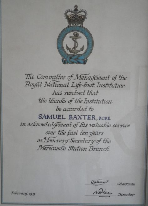 A RNLI letter of thanks   to Samuel Baxter for his ten years service as Hon. Sec. of the Morecambe Branch | Baxter Family