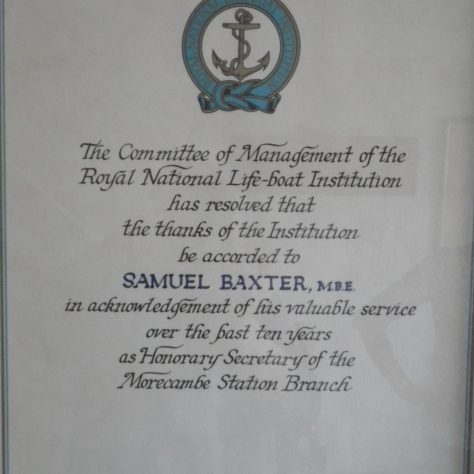 A RNLI letter of thanks to Samuel Baxter for his ten years service as Hon. Sec. of the Morecambe Branch