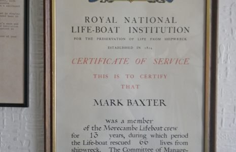 A certificate of service issued by the RNLI to Mark Baxter