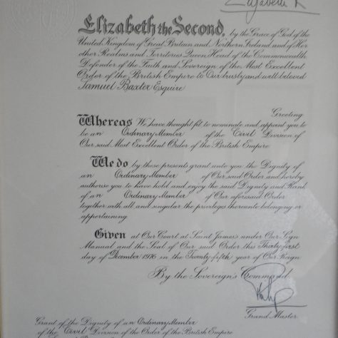 A citation enrolling Samuel Baxter as Member of the British Empire, issued by the Court of St. James, London.