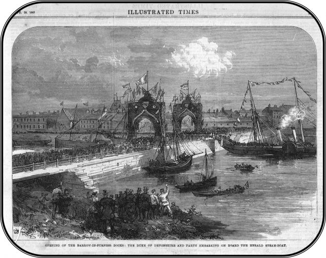 Engraving in The Illustrated Times 28 September 1867 showing the opening of the Devonshire and Buccleuch Docks (Z 3497) | Copyright: Cumbria Archive and Local Studies Centre, Barrow-in-Furness