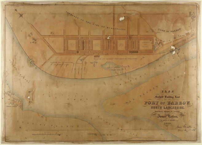 James Ramsden drew up a plan of the town in 1856. The original Barrow village is shown with planned streets. The iron works is shown with  planned areas for shipbuilding yards.  Z537  | Copyright: Cumbria Archive and Local Studies Centre, Barrow-in-Furness