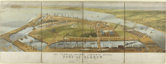 Drawing of The Port of  Barrow circa 1880. The buildings on the right of Barrow Island were the huts built to house the workers.  | Copyright: Cumbria Archive and Local Studies Centre, Barrow-in-Furness