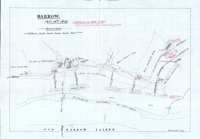 This plan shows Barrow in 1846 and in 1849.  The railway station, railway buildings and the Salthouse railway cottages have been built. St George's was opened in 1856 so is not shown on this plan.  The hotel shown in the site of an iron ore yard is probably The Harbour Hotel built in 1851.  | Copyright: Cumbria Archive and Local Studies Centre, Barrow-in-Furness