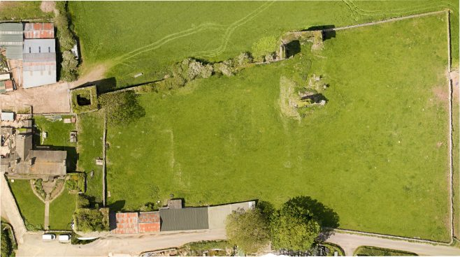 Aerial photograph of Gleaston Castle 3