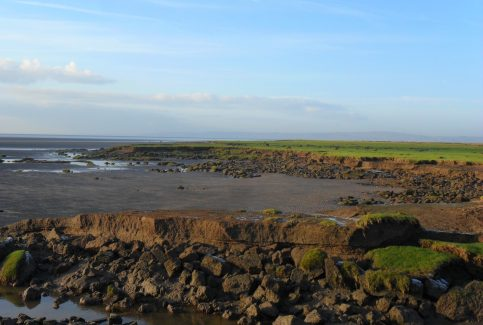View of rocky shore at Flookburgh Bay