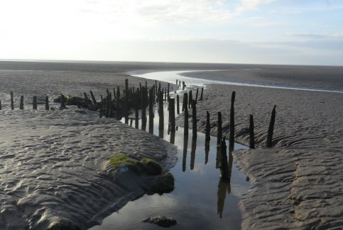 View of fishing baulks and channels at Flookburgh Bay.