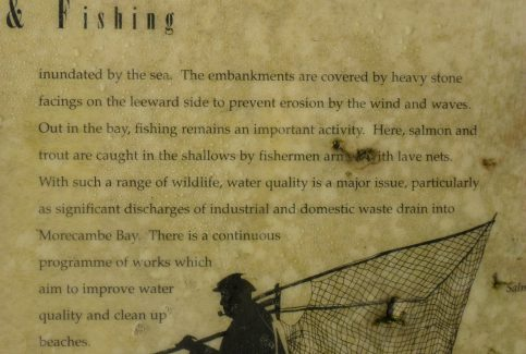Close-up photo of information board  'Flowers and Fishing' at Humphrey Head