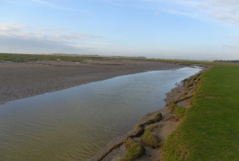 View of large channel on beach at Humphrey Head