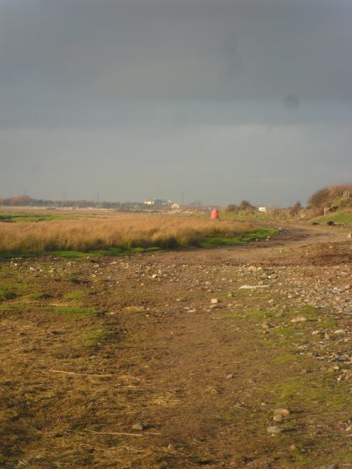 View along footpath on the shore to the west of Sunderland Point at low tide.