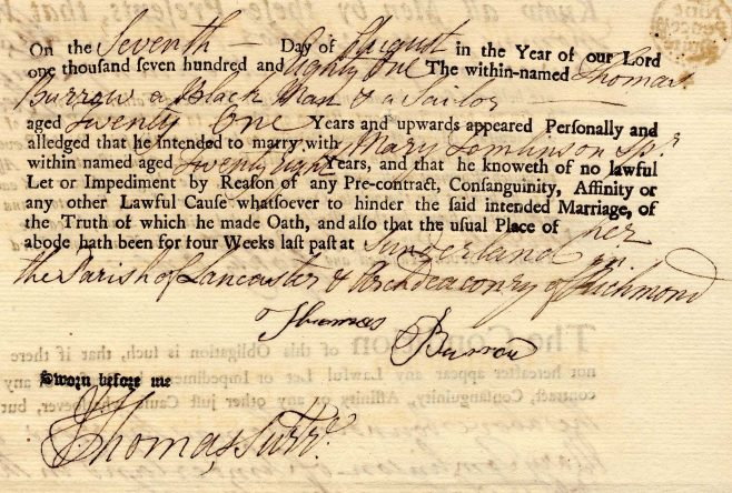 The marriage bond of Thomas Burrow and Mary Tomlinson in 1781 (Lancashire Archives AR 11) | Copyright: Lancashire Archives