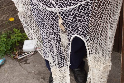 Model of a twin pocketed trawl net
