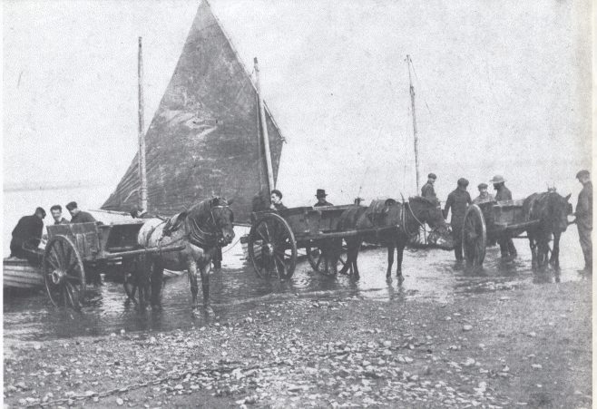 Musselers landing their catch at Kilnbrow cart road. | Keith Willacy collection