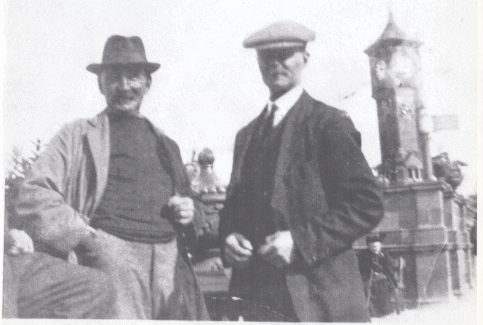"Fishermen John ""Happy Jack"" Woodhouse and ""Flyer"" Bond by the Clock Tower at Morecambe"