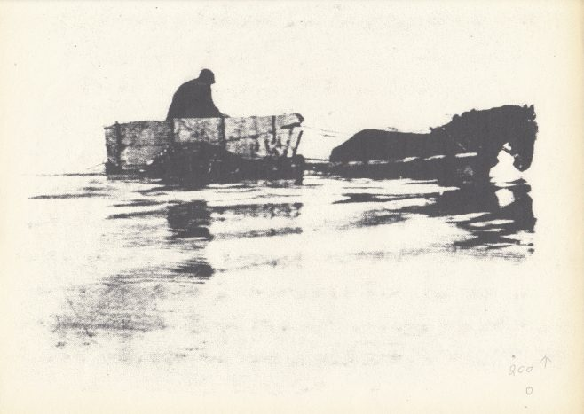 Flookburgh cart shanker dragging for shrimps in Grange over Sands channel | Keith Willacy collection