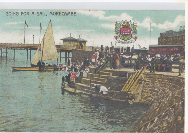 Laden Morecambe Bay pleasure boat in the background, with people waiting to board on the steps | Keith Willacy collection