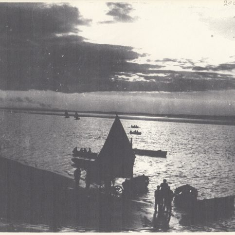 An evening sail in Ring Hole.  Notice the wheeled landing stage at the water's edge