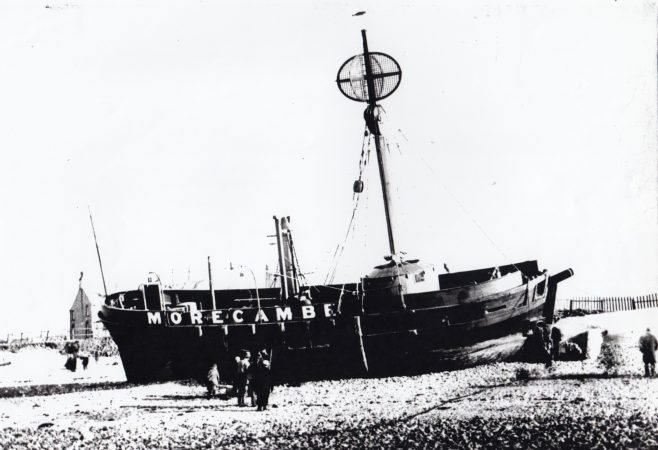 The Morecambe lightship ashore at Battery Point after parting her moorings in a storm 2. | Keith Willacy collection