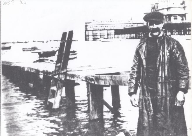 An unkown fisherman at a landing stage. | Keith Willacy collection