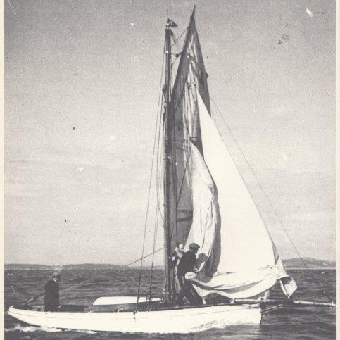Leisure boat sailing on Morecambe Bay
