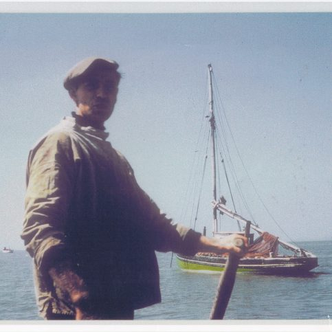 Keith Willacy of Morecambe, sculling ashore after the day's fishing