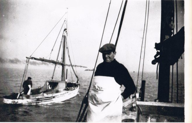 Unnamed fishermen on boats fishing in Morecambe Bay | Keith Willacy collection