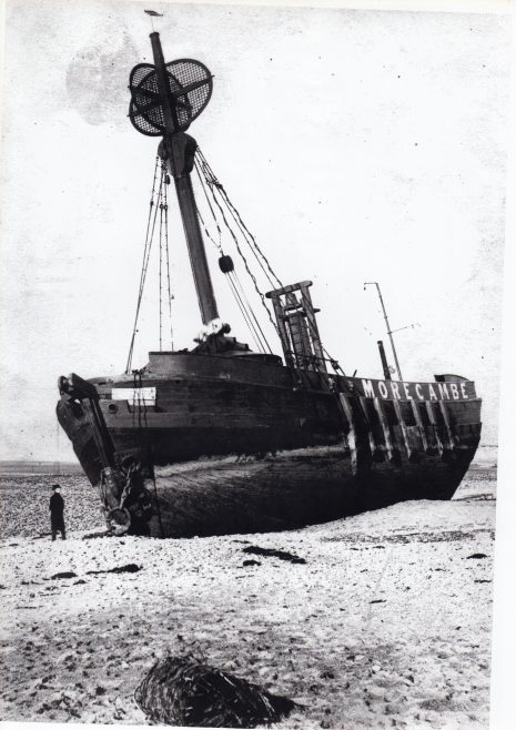 The Morecambe lightship ashore  after parting her moorings in a storm November 1894 | Keith Willacy collection